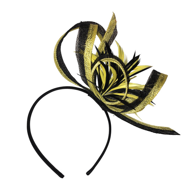 Nikita Black and Yellow Derby Fascinator, Kentucky Derby Fascinator, Women's Derby Headband, Yellow Millinery, Spring Racing, Tea-Party Hat