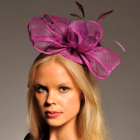 Eliza Purple Fascinator, Kentucky Derby Headband, Purple Spring Racing Hat, Kentucky Oaks Fascinator, Wedding Hat, Fancy Hats, Ladies Tea-Party Hat
