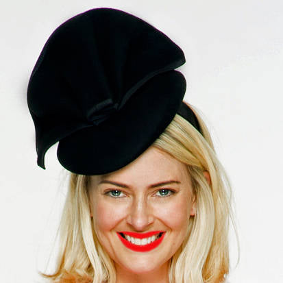 Sophia Black Wool Fascinator, Winter Derby Hat, Fancy Wool Hat, British Wedding Hat, Ladies Felt Hat, Wool Church Hat, Racewear, Royal Hats