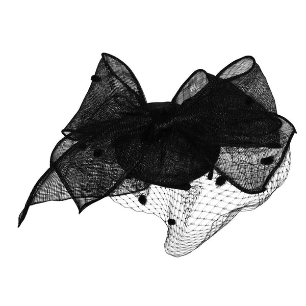 Arielle Black Fascinator with Spotted Netting, Kentucky Derby Fascinator Black, Royal Wedding Millinery, Spring Racing Headband 2019