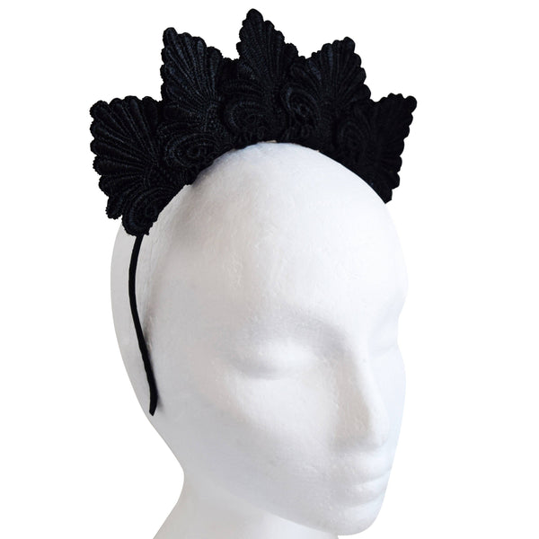 Loretta Black Embroidered Crown Headband, Black Headpiece, Spring Racing Fashion 2019, Black Derby Fascinator, Kentucky Derby Headband