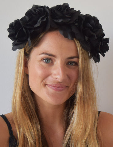 SALE item* Isabella Black Flower Crown, Kentucky Derby Headband, Floral Derby Fascinator Black, Black Fashion Headband, Wedding Flower Crown