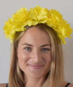 SALE item* Isabella Bright Yellow Flower Crown, Women's Kentucky Derby Fascinator, Spring Racing Fashion 2019, Derby Headband