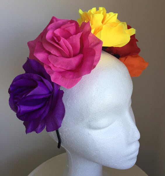 SALE item* Isabella Colorful Flower Crown Headband, Multicolor Kentucky Derby Fascinator, Floral Headpiece, Colorful Derby Hat,Spring Racing