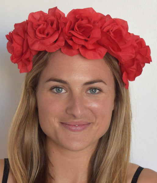 SALE item* Isabella Red Flower Crown Headband, Red Kentucky Derby Fascinator, Floral Derby Headpiece, Spring Racing 2019, Red Hair Accessory