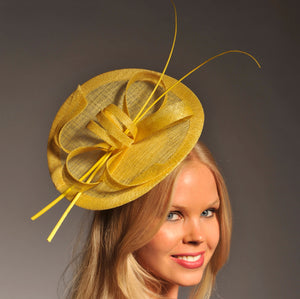 Lulu Yellow Fascinator, Kentucky Derby Hat, Fancy Yellow Hat, Spring Racing Headband, Wedding Hats for Women, Ladies Hats, Tea-Party Hat