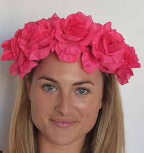 SALE item* Isabella Fuchsia Pink Fascinator, Bright Pink Derby Headband, Wedding Headpiece, Kentucky Derby Fashion 2019, Oaks Flower Crown