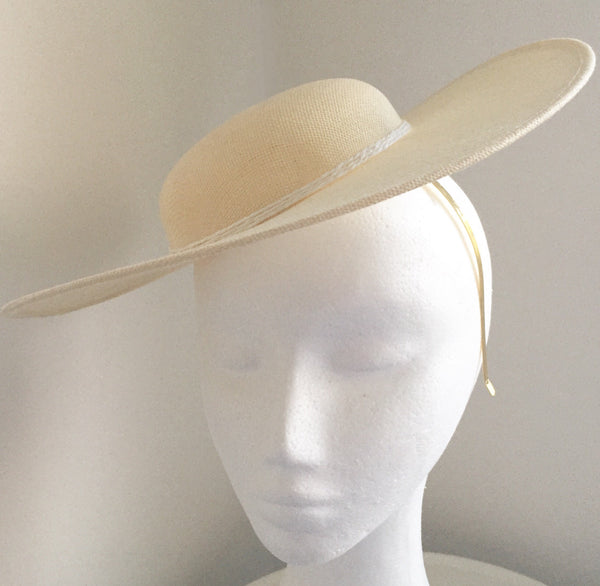 Adeline Cream & White Fascinator Hat with Headband, Tea-Party Fascinator,High Quality Derby Hat,Royal Wedding Hats for Women,Cream Millinery