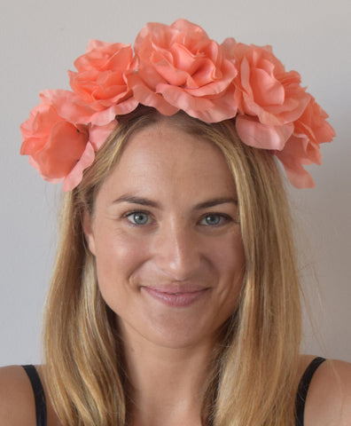 SALE item* Isabella Salmon Flower Headband, Peach Flower Crown, Kentucky Oaks Derby Fascinator, Floral Headband, Salmon Derby Headpiece