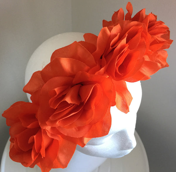 SALE item* Isabella Orange Flower Fascinator Headband, Flower Crown, Floral Wedding Headpiece, Orange Derby Headband, Spring Racing Fashion