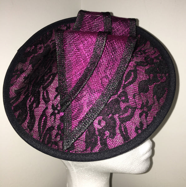 Caprice Magenta Pink & Black Fascinator, Kentucky Derby Hat, Royal Fascinator, Women's Tea-Party Hat, Oaks Hat with Headband, Couture Hats