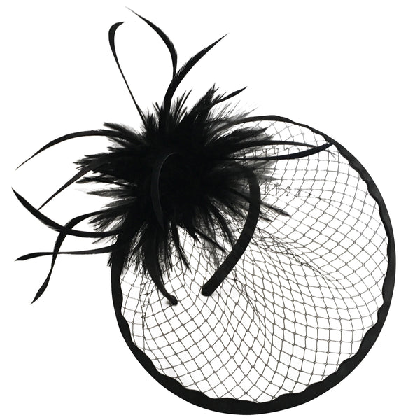 Emmy Black Netted Fascinator with Feather Feature, Derby Hat Black, Kentucky Derby Headband, Unique Black Fascinator, Ladies Tea-Party Hat