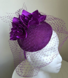 FIFI Purple Fascinator with Netting, Kentucky Derby Hat, Spring Racing Fashion 2019, Royal Wedding Hat, Ladies Tea-Party Hat with Headband