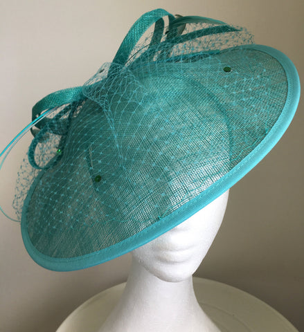 Lydia Teal Fascinator, Kentucky Derby Hat, Saucer Fascinator, Aqua Hat, Fancy Royal Wedding Hat, Women's Derby Hat, Tea Party Hat, Millinery