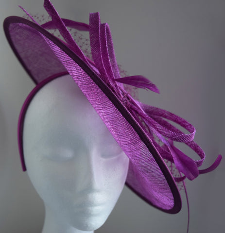 Lydia Purple Fascinator, Kentucky Derby Hat, Purple Oaks Fascinator, Millinery, Royal English Wedding Hat, Fancy Hat for Women, Saucer Fascinator
