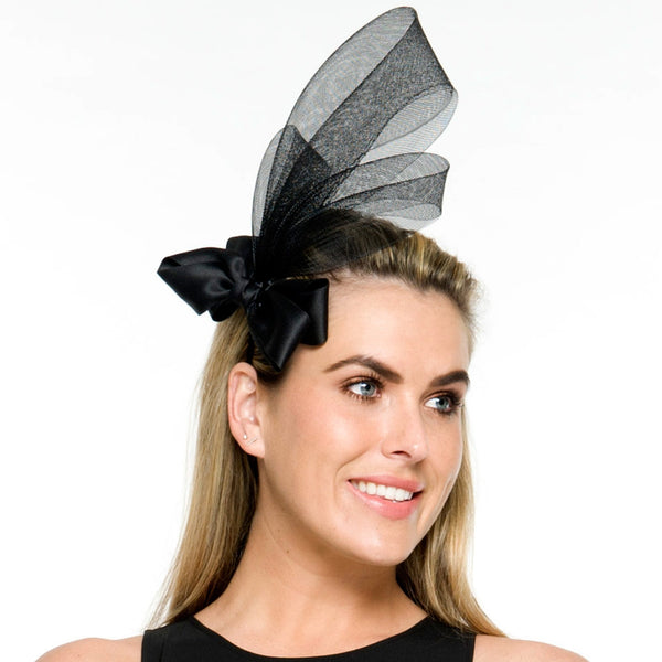Nala Black Fascinator Headband, Kentucky Derby Headband, Spring Racing Fashion, Royal Wedding Fascinator,Derby Hats for Women, Tea Party Headpiece