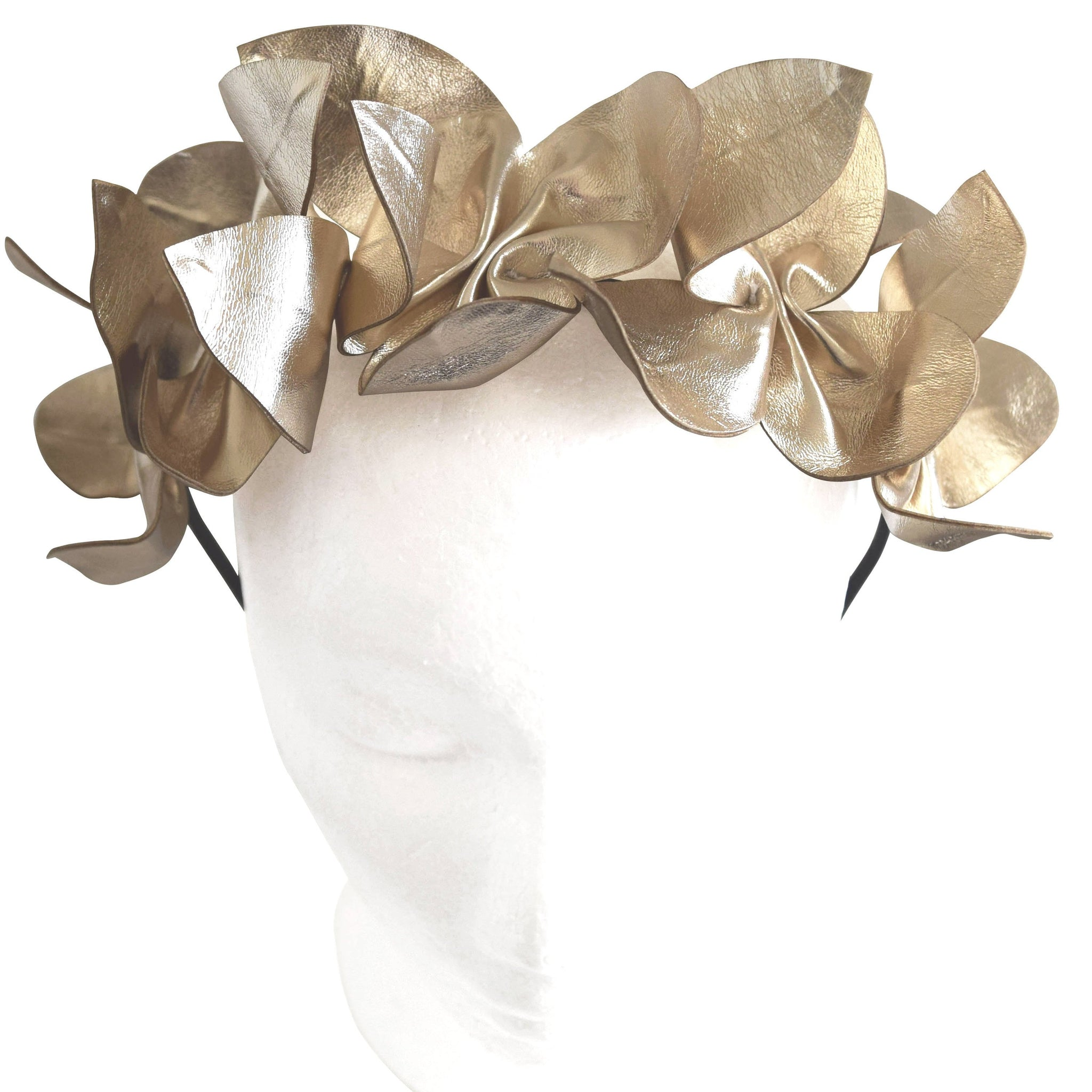SALE item* Harper Gold Leather Crown, Kentucky Derby / Oaks Headband, Derby Hair Accessory, Spring Racing Fashion, Women's Derby Fascinators