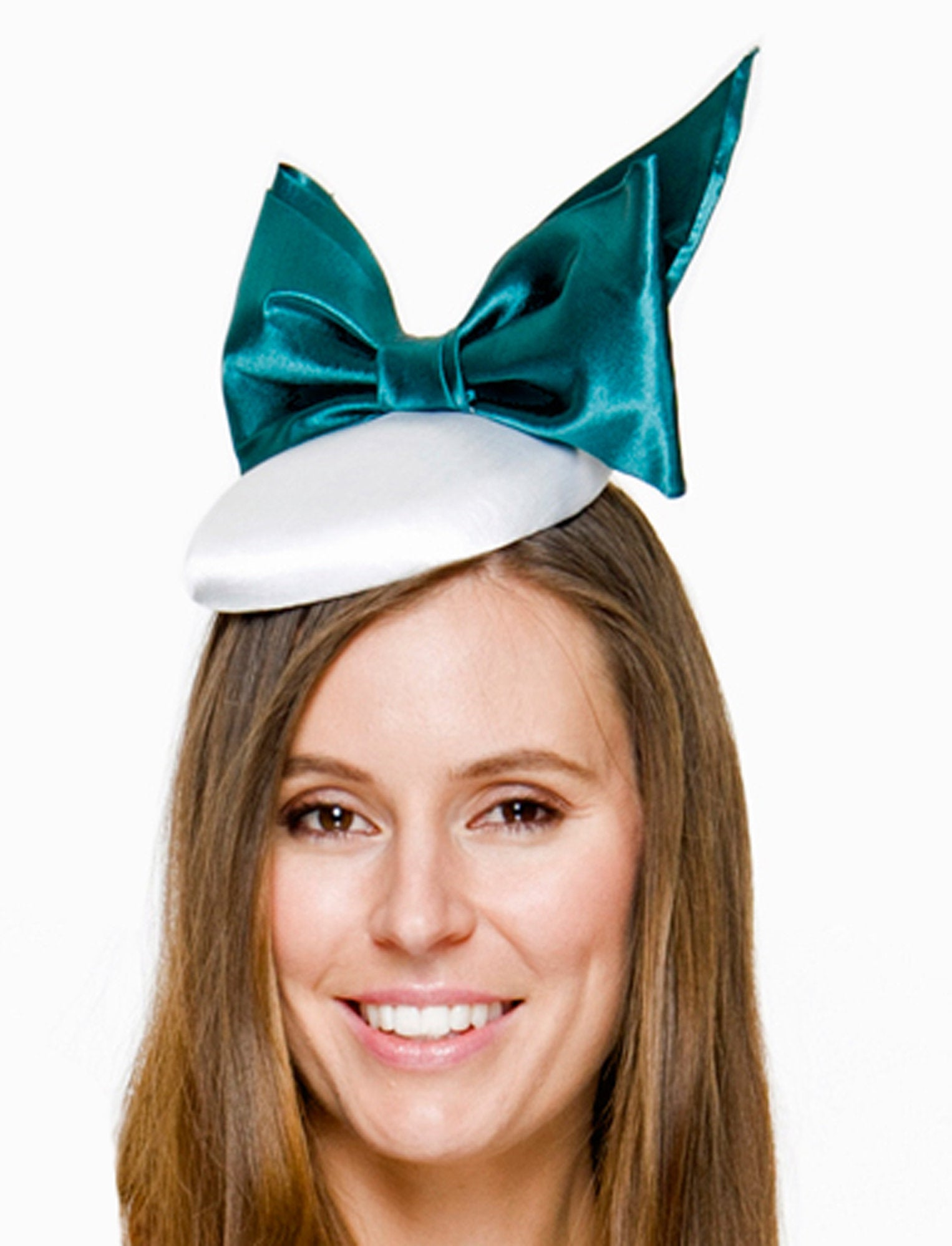 SALE item* Lena Two-Tone Turquoise Green & White Fascinator, Kentucky Derby Hat, Ladies Cocktail Hat, Derby Hats for Women, Green Royal Hat