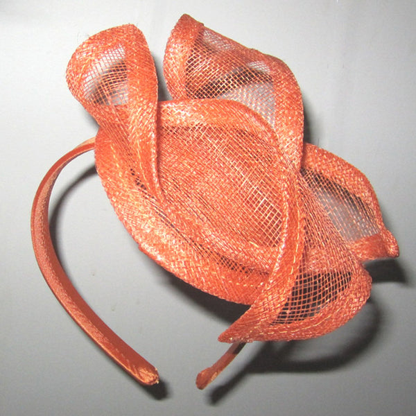 Ruby Orange Fascinator, Kentucky Derby Hat, Spring Racing Headband, Orange Mini-Hat, Royal Wedding Hat, Tea-Party Fascinator, Millinery
