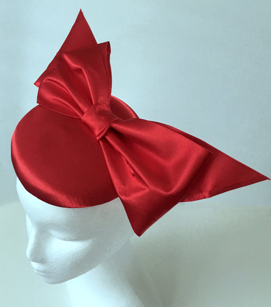 SALE item* Tiffany Red Satin Fascinator, Red Kentucky Derby Hat, Ladies Cocktail Hat, Spring Racing Fascinator, Women's Derby Hats 2019