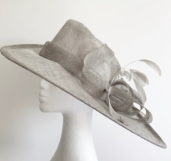 SALE item* Betina Wide-Brim Gray Derby Hat, Kentucky Derby Hat Light Gray, Ladies Derby Hats, Royal Wedding Hat, Fancy Hat, Spring Racing