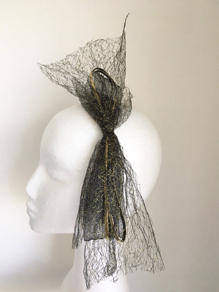 Vyda Black and Gold Bow Headband, Unique Black & Gold Headpiece, Kentucky Derby Headband, Tea-Party Hair Accessory, Gold Fascinator