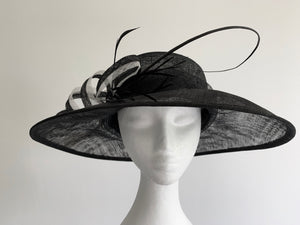 Elle Wide-Brimmed Black and White Derby Hat, Kentucky Derby Hat 2019, Spring Racing Fashion, British Wedding Hat, Royal Hat Black and White