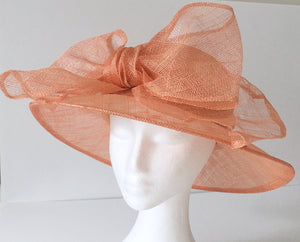 SALE item* Annabel Peach Derby Hat, Salmon Kentucky Derby Hat, Ladies Tea Hat, Spring Racing Fashion 2019, Derby Hats for Women, Fancy Hat