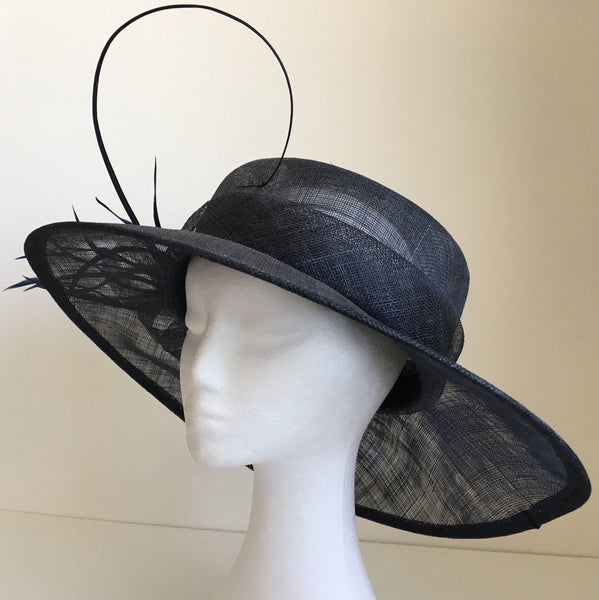 Elle Navy Blue Derby Hat, Wide-Brimmed Kentucky Derby Hat, Wedding Hat Navy, Spring Derby Fashion 2019, Formal Hats for Women, Tea-Party Hat