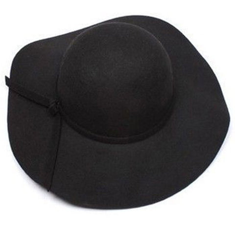 Lyla Women's Black Wide-Brim Wool Felt Hat, Black Derby Hat, Black Foldable Hat, One-Size Inbuilt Adjustable Drawstring,Ladies Derby Hat