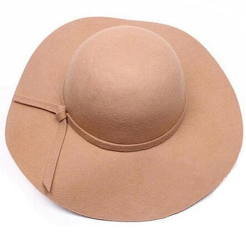 Lyla Beige Wide-Brim Sun Hat, Kentucky Derby Hat, Foldable Ladies Hat, Derby Hats for Women, Beige Wool Hat, Wool Felt Hat Adjustable Size