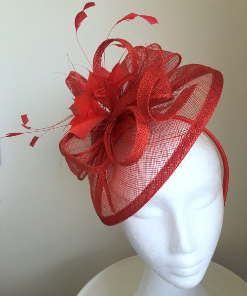 Alma Red Fascinator Hat, Kentucky Derby Hat with Headband, Spring Racing Fashion, Red Hat Society, Tea Party Hat, Royal Wedding Hats