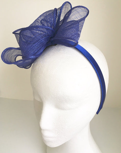 Eve Royal Blue Fascinator, Kentucky Derby Fascinator, Royal Wedding Hats, Blue Millinery, Tea Party Hat, Spring Racing Fashion, Derby Party