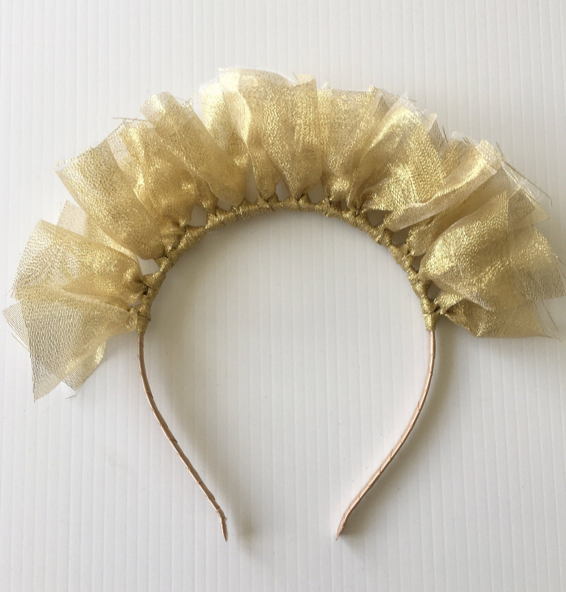Estella Unique Gold-Tulle Headpiece, Gold Derby Headband, Kentucky Derby Fascinator 2019, Women's Fashion Headband, Spring Racing Crown