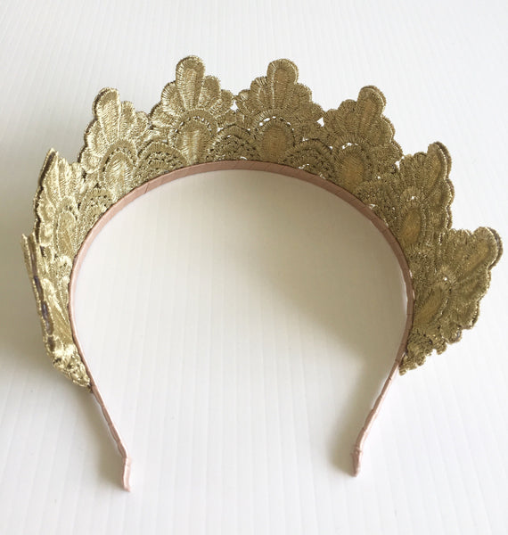 SALE ITEM* ISADORA Gold Embroidered Crown Tiara, Kentucky Oaks Derby Headband, Spring Racing Fashion 2019, Royal Tea-Party Headpiece
