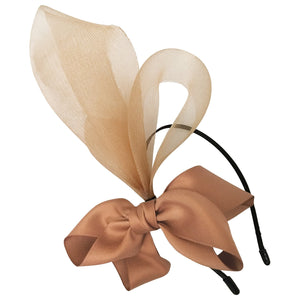 Nala Tan / Caramel Crin Fascinator with Bow, Kentucky Derby Fascinator Beige, Derby Headband, Royal Wedding Millinery, Tan Color Headpiece