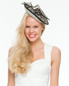Caprice Black & Cream Fascinator, Kentucky Derby Hat, Oaks Hat, Royal Wedding Hat, Black and White Millinery, Women's Fancy Hat, Tea Hat