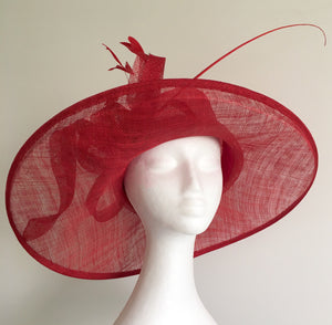 *SALE Betina Red Wide-Brim Derby Hat, Red Kentucky Derby Hat, Red Hat Society, Derby Hats for Women, Royal Hat Red, Spring Racing Fashion, Tea Hat