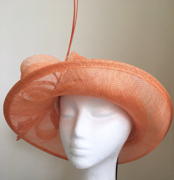 Esta Salmon / Peach Derby Hat, Kentucky Derby Hat, Spring Racing Fashion 2019, Derby Hats for Women, Royal Tea Party Hat, Formal Hat Salmon