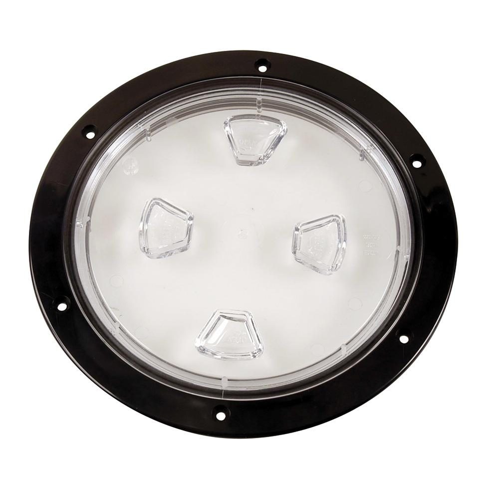 "Beckson 8"" Clear Center Screw-Out Deck Plate - Black"