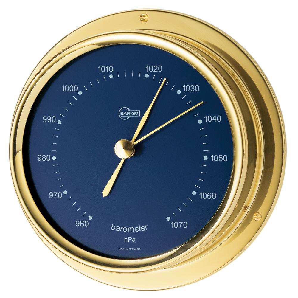 "BARIGO Regatta Series Ship's Barometer - Brass Housing - Blue 4"" Dial"