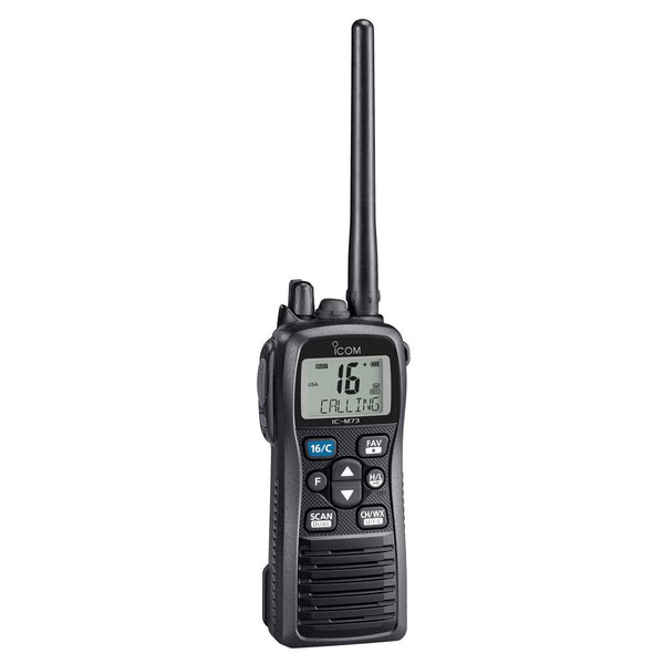 Icom M73 Handheld VHF - 6 Watts - IPX8 Submersible - Black
