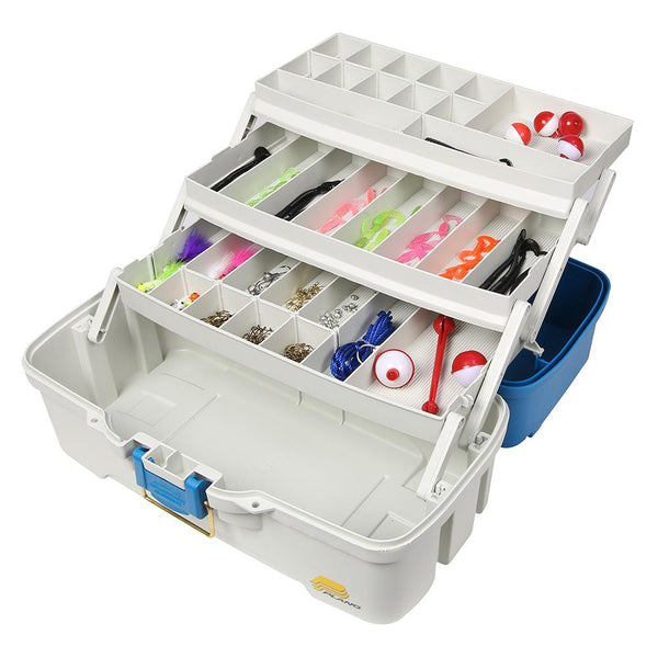 Plano Ready Set Fish Three-Tray Tackle Box - Aqua Blue-Tan