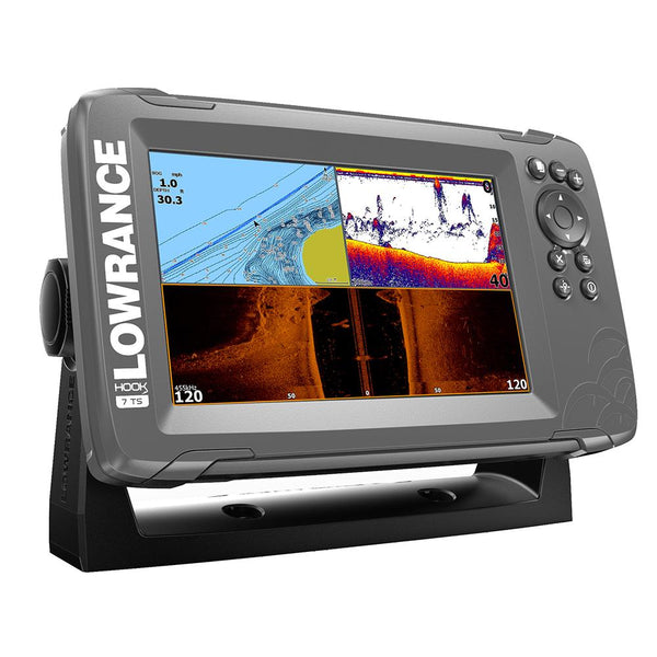 "Lowrance HOOK²-7 7"" Chartplotter-Fishfinder TripleShot Transom Mount Transducer w-Built-In US Inland Charts"