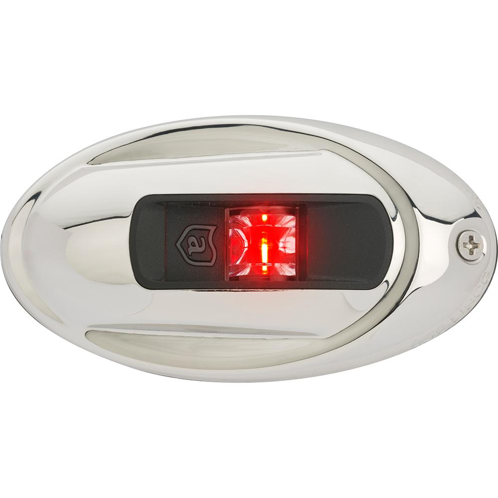 Attwood LightArmor Vertical Surface Mount Navigation Light - Oval - Port (red) - Stainless Steel - 2NM
