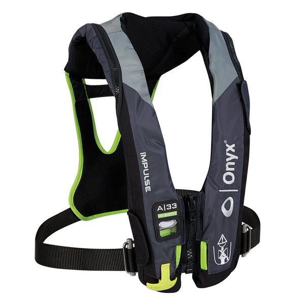 Onyx Impulse A-33 In-Sight w-Harness Automatic Inflatable Life Jacket (PFD) - Grey-Neon Green