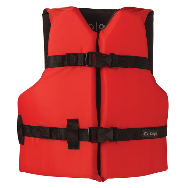 Onyx Nylon General Purpose Life Jacket - Youth 50-90lbs - Red