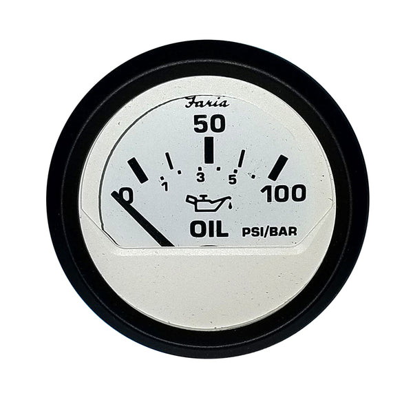 "Faria 2"" Oil Pressure Gauge (100 PSI) - Euro White"