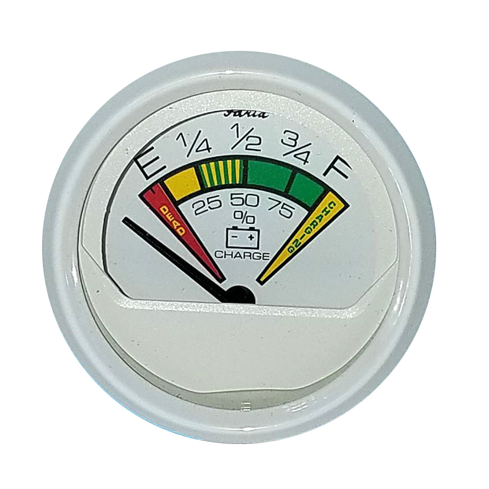 "Faria 2"" Battery Condition Indicator (12VDC) Dress White"
