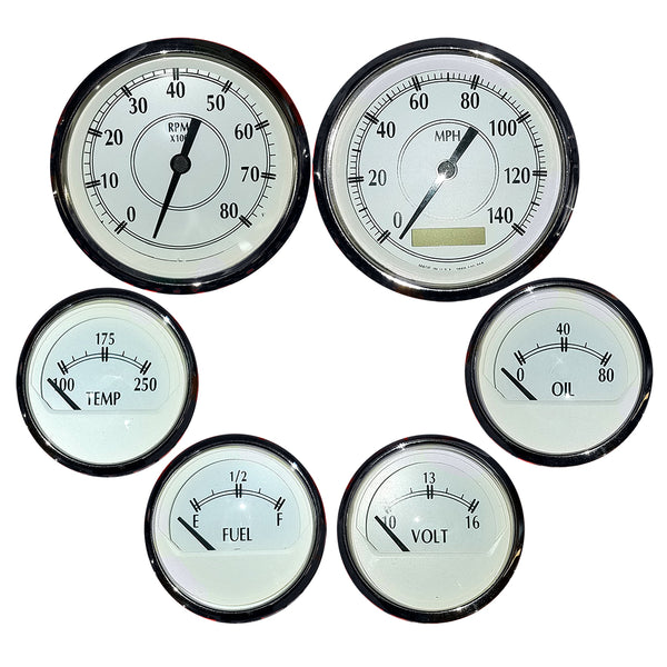 Faria 6 Gauge Set w-Elec Speedometer - Tach - Fuel Level - Voltmeter - Water Temp - Oil Pressure & Sender